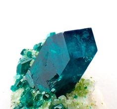 """mineraliety: """"Drooling over this gemmy #dioptase with #mottramite shared by @structure_minerals. """""""