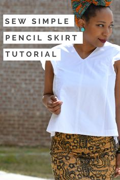 Pencil skirts are classic and prints are very much on trend now. Combine the two for a custom DIY stretch knit pencil skirt! diy ankara print skirt, african print skirt tutorial, skirt with side split diy, african print skirt outfit, ankara fabric headwrap, diy style, easy sewing project, no pattern   Thriftanista in the City