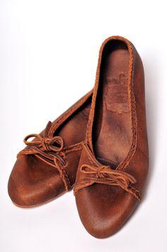 Sasha brown leather flats.