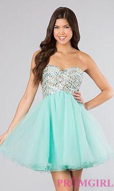 Strapless Short Beaded Prom Dress at PromGirl.com