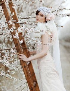 Almond Orchard Wedding inspiration. What a fabulous headpiece. The Claire Pettibone dress is to die for!