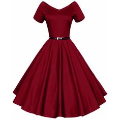 LUOUSE 40s 50s 60s Vintage V-neck Swing Rockabilly Pinup Ball Gown... ❤ liked on Polyvore featuring dresses, gowns, bridesmaid dresses, red dress, vintage evening gowns, pin up dresses and red ball gown