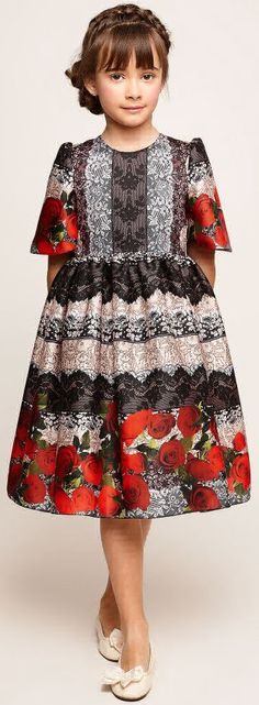 SALE !!! GRACI Girls Designer Lace Print Party Dress. Gorgeous Special Occasion Dress Designed in Spain.  Designed in a clever trompe l'oeil lace print. Your little girl will make a dramatic entrance at her next big special event wearing this designer dress. Now on Sale!  #kidsfashion #fashionkids #girlsdresses #childrensclothing #girlsclothes #girlsclothing #girlsfashion #cute #girl #kids #fashion