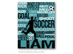 Soccer Typography Art Print, Perfect Boy's Room Art, You Choose the Colors, Makes a Great Gift for any Soccer Lover