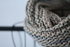 Beige, Brown and Grey Cotton Hand Knit Infinity Scarf