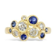 Bubble Ring 18ct Gold, Diamond and Sapphire