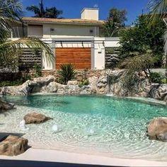 Beach Entry Pool, Backyard Beach, Backyard Pool Landscaping, Small Backyard Pools, Small Pools, Ponds Backyard, Piscina Diy, Piscina Hotel, Natural Swimming Pools