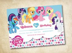 Hey, I found this really awesome Etsy listing at https://www.etsy.com/listing/124025718/my-little-pony-invitation