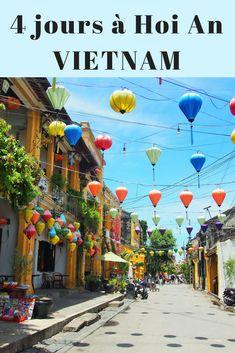 Voyage au Vietnam: Hoi An mon coup de coeur! La vieille ville, interdite aux voitures, a un charme fou, avec ses maisons jaunes décrépies, ses lanternes de toutes les couleurs, les pousse-pousses, le marché aux légumes, la rivière qui traverse la ville et toutes les petites barques qui sortent le soir! #VIETNAM #Hoian #voyage #asie
