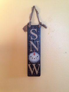 Handmade Primitive Love Snow Snowman Sign by VintageTrimmings