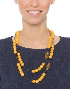 Yellow Copal Bead and Pyrite Long Necklace | Myrna Halpern | Halsbrook