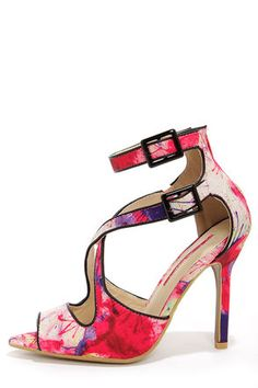 C Label Luxe 28 Fuchsia Splatter Print Ankle Strap Heels at LuLus.com! This to me looks like the Jackie Onassas of shoes. - said Pretty Black Sheep