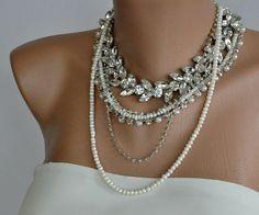 chunky Braut Frischwasserperle und Strass-Halsband