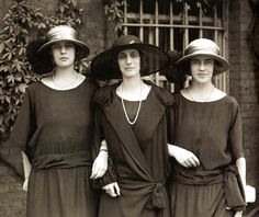 Lady Louise Mountbatten with (L) Princess Theodora of Greece and (R) Princess Margarita of Greece, daughters of Prince Andrew of Greece and sisters of Prince Philip