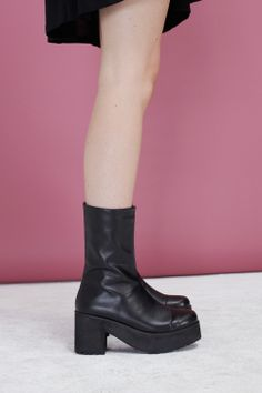 e4272cef3c Leather High Rise Boot Black - THE WHITEPEPPER Autumn 13 http   www.
