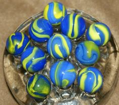 SET of Vacor Van Gogh Player Marbles Blue Yellow Cub Scout Swirl Marbles VA-103