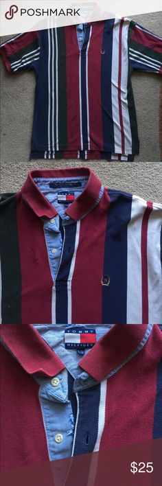 Vintage Tommy Hilfiger polo Vintage Tommy Hilfiger polo. navy blue/dark green/maroon color. Small fraying from age and 2 small bleach dots . Tommy Hilfiger Shirts Polos