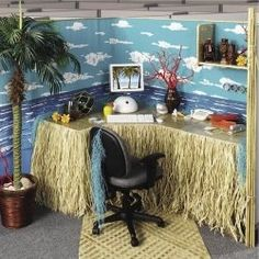 Artistically Decorated Office Cubicles ; Beach Theme... my summer cubicle for sure... oh man I am going to have fun with this all year!!! :)
