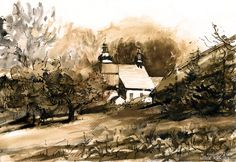In Nowy Sacz. Watercolor. Author: Witold Kubicha