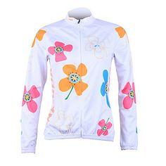 femmes à vélo 100% polyester manches longues Jersy UPF50 + (blanc) – USD $ 45.99