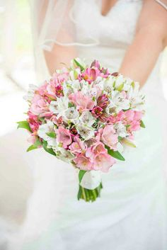 Bride's Pretty Bouquet Which Showcases: Hot Pink Alstromeria, Pink Alstromeria, White Alstromeria (Peruvian Lily) & Greenery