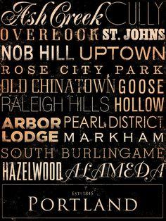 Portland Oregon neighborhoods typography graphic by geministudio