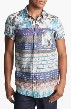 Topman Mixed Vintage Print Woven Short Sleeve Shirt available at #Nordstrom #tmnordstrom