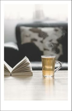 Drinking hot tea and reading a very good book.Perfect for me!