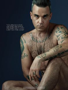 Going nude for Attitude, singer Robbie Williams delivers a cheeky image for the magazine's December 2016 issue. Robbie Williams Tattoos, Robbie Williams Take That, Gary Barlow, Most Handsome Men, Robin Williams, Dream Guy, Celebrity Crush, Gorgeous Men, Sexy Men