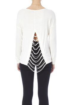 Long sleeve waist length top with an open back accented with silver chains.  Chain Back Top by Turning Point. Clothing - Tops - Long Sleeve Ohio