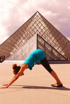 """Yoga Poses Around the World: """"Downward dog at the Louvre"""""""