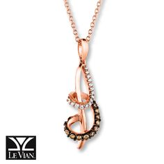 LeVian Chocolate Diamonds 1/6 cttw Necklace 14K Strawberry Gold