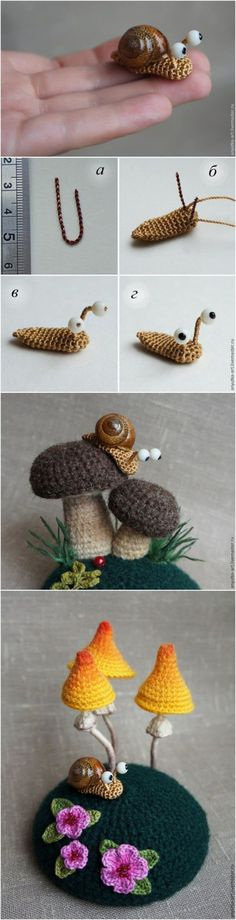 Crocheted Snails and Mushrooms Cute right? The only tricky thing about this is that the free pattern is translated from Russian to English HERE. I havent given it a try yet but let me know if it works for you!