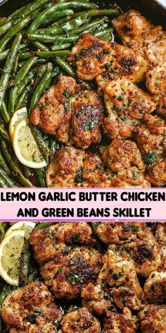 Lemon Garlic Butter Chicken Thighs and Green Beans Skillet – So addicting! This paleo, low carb, keto-friendly skillet chicken recipe is a snap to fix and cook. Chicken Skillet Recipes, Meat Recipes, Dinner Recipes, Cooking Recipes, Recipies, Healthy Snacks, Healthy Eating, Healthy Recipes, Garlic Butter Chicken