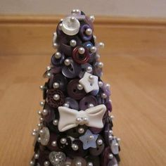 Small button christmas tree (14cm), perfect gift or Christmas decoration for the home £9.95+P Take a look at my Facebook page as I have many more items! Www.facebook.com/adorebuttonbouquets.