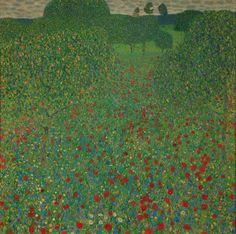 A Field of Poppies by Gustav Klimt - art print from King & McGaw Poppy Field, Klimt, Art Prints, Klimt Prints, Classic Art, Seascape Print, Emerging Artists, Gustav Klimt, Klimt Art