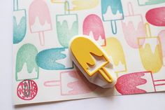 ice cream stamp. hand carved rubber stamp. hand carved stamp. chocolates coated popsicle. summer holidays. diy projects.