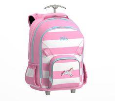 Fairfax Pink White Aqua Trim Unicorn Luggage Backpack 60c314f795d97