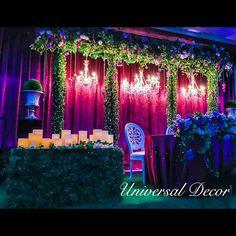 Enchanting wedding reception in shades of rich purple . Yard Wedding, Wedding Stage, Wedding Events, Dream Wedding, Wedding Day, Head Table Decor, Head Tables, Reception Backdrop, Wedding Backdrops