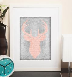 Girls Pink and Gray Shabby Rustic Deer Head Printable Art