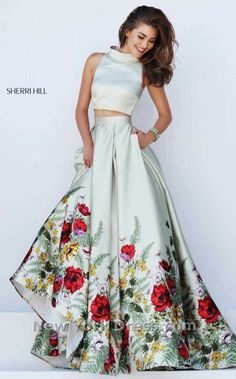 c89d16a5fd Sherri Hill 50270 Sherri Hill is a gorgeous two piece floral ball gown that  you would look amazing in! The top of this satin dress has a high neck that  goes ...