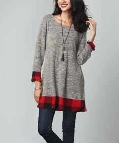 Love this Oatmeal Melange & Plaid Hem Tunic by Reborn Collection on #zulily! #zulilyfinds