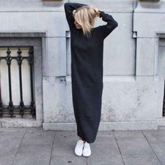 Cool Maxi dresses Street chic i stickad klänning. Mode Outfits, Casual Outfits, Fashion Outfits, Womens Fashion, Fresh Outfits, Fashionable Outfits, Dress Casual, Dress Fashion, Fashion Clothes