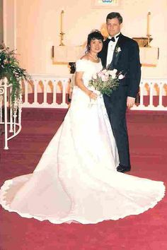 1990s As the ornate wedding gowns of the '80s faded, a more minimalistic style gained momentum: a slim sheath dress, exemplified by Carolyn Bessette's bias-cut shift dress for her 1996 marriage to John F. Kennedy Jr.  Pictured: Karen and Scott Gustafson, married in April 1996.