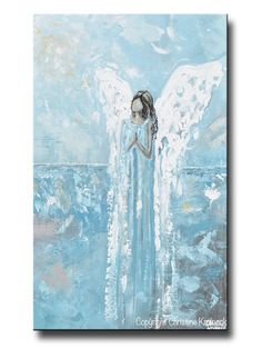 Canvas Print Abstract Angel Painting Guardian Angel Blue Home Wall Art – Contemporary Art by Christine
