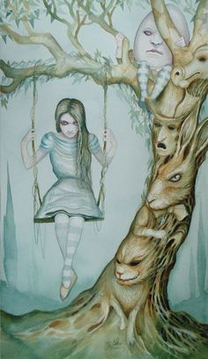 Alice In Wonderland Art  Signed Original Painting Swinging Tree Dominic Murphy