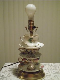 Tea Time Tea Cup Lamp by papabearproducts on Etsy, $50.00