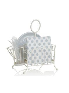 Simpatico e funzionale il cestello in ferro color bianco portapiatti, posate e…