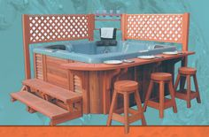 Catalina spa's spa deck for hot tubs with bar and counter