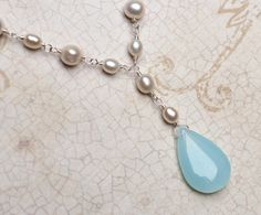 Blue Chalcedony Necklace With Pearl on Sterling by CircesHouse, $42.50